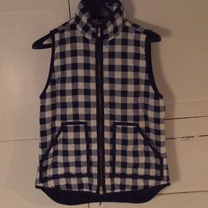 J Crew navy and white houndstooth plaid vest XS